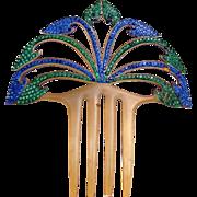 Art Deco rhinestone hair comb celluloid hair comb hair accessory