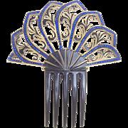 Art Deco celluloid hair comb blue rhinestone Spanish style hair accessory