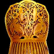 Victorian hair comb steer horn large Spanish mantilla style hair ornament