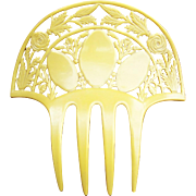 Art Deco French ivory hair comb, Spanish style hair accessory