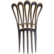 French ivory parti-colour hair comb Art Deco hair accessory