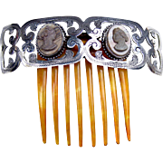 Victorian hinged tiara style hair comb with lava cameos hair accessory