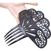 French Jet hair comb, Art Deco Spanish style hair ornament