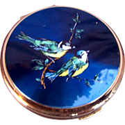 Stratton powder compact mid century enamel birds design