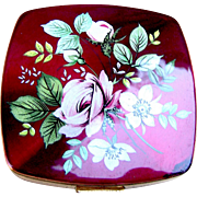 Powder compact mid century Regent of London, enamel floral