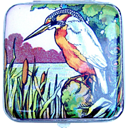 Powder compact, Gwenda foiled flap tap with figural kingfisher