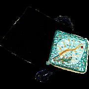 Vintage purse mirror, enamel lizard mid century