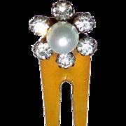 Faux pearl rhinestone hair pin late Victorian hair accessory