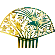 Large Art Deco hair comb Spanish style with figural parrot hair accessory