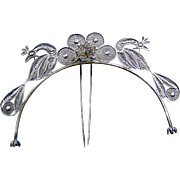 Tiara hair comb silver tone metal filigree figural birds hair accessory