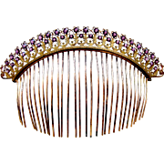 Regency fire gilded tiara comb faceted crystal hair accessory