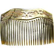 Art Deco hair comb pearlized celluloid rhinestone hair accessory