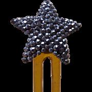 Cut steel hair comb hinged Victorian star shape hair pin