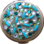 Stratton powder compact mid century rhinestone purse compact