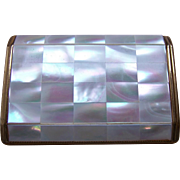 Melissa powder compact mid century mother of pearl