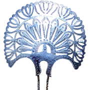 Victorian hair comb Spanish style silver tone metal hair accessory