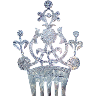 Edwardian sterling silver English hair comb 1904/5 hair ornament