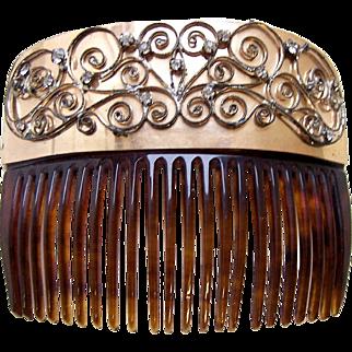 Late Victorian hair comb faux tortoiseshell rhinestone set hair ornament