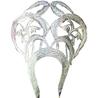Edwardian sterling silver hair comb 1904 hair accessory