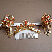 Vintage Japanese Hair Comb and Hairpin Set Geisha Kanzashi Faux Coral Gold tone