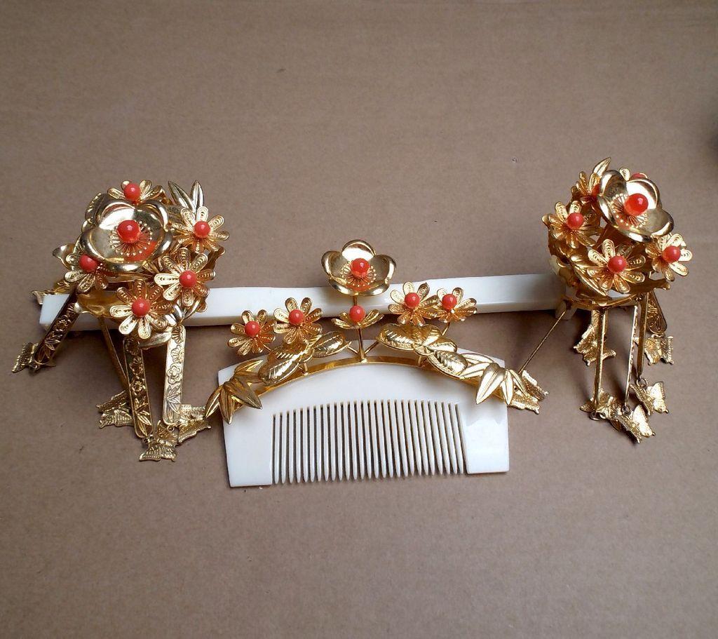 Japanese hair ornaments - Vintage Japanese Hair Comb And Hairpin Set Geisha Kanzashi Faux Coral Gold Tone