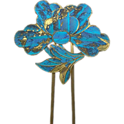 Chinese Kingfisher Feather Hair Pin with Lotus Flower Hair Comb Hair Accessory
