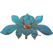 Chinese Kingfisher Feather Hair Pin with Lotus Flower Hair Comb Hair Accessory or Dress Ornament