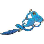 Chinese Kingfisher Feather Hair Pin with Figural Lobster Hair Comb Hair Accessory or Dress Ornament