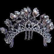Vintage tiara hair comb Indonesian headdress headpiece belly dance hair accessory crown hair ornament (AAJ)