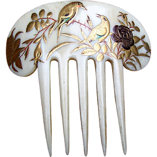 Japanese Hair Comb French Ivory Japonaiserie with Gilding Kanzashi Hair Accessory