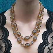 Vintage multistrand necklace, signed AUSTRIA dark amber acrylic translucent beads (ADJ)