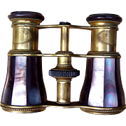 Antique Opera Glasses Brass and Mauve Mother of Pearl Lemaire Paris  (AAF)