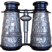 Vintage Opera Glasses Antiqued Silver tone Metal Egyptian Revival (AAS)