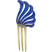 Blue rhinestone hair comb Art Deco style hair accessory