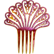 Spanish Hair Comb Pink Celluloid Rhinestone Art Deco Hair Accessory
