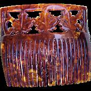 Antique hair comb faux tortoiseshell maple leaf hair accessory