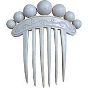 French Ivory Hair Comb with Balls Victorian Hair Accessory