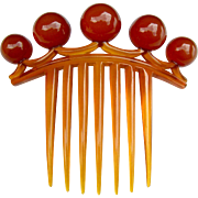 Victorian Hair Comb Amber Celluloid with Balls Hair Accessory