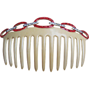 French Ivory Art Deco Hair Comb Red Rhinestone Trim Hair Accessory