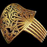 Gold Glitter Art Deco Hair Comb Confetti Lucite Hair Accessory