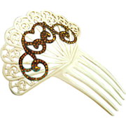 French Ivory Hair Comb With Gilding And Rhinestones