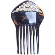 Art Nouveau hair comb mantilla style comb with metal embellishment
