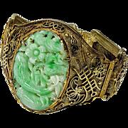 Vintage 30's Chinese Carved Jadeite Jade Gold Wash Silver Bracelet