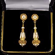 Antique Georgian Etruscan Revival 18K Gold White Enamel Dangle Earrings