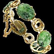 Art Deco 10K Gold Carved Chinese Jadeite Jade Link Bracelet