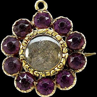 Antique Georgian 9K Gold Amethyst Mourning Hair Brooch c. 1820's