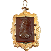 Antique Victorian Carved Sardonyx Agate Cameo Monogram Gold Locket