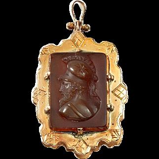 Antique Victorian Carved Sardonyx Agate Cameo Monogram Gold Locket