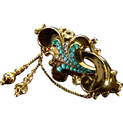 Antique Georgian 14K Gold Persian Turquoise Seed Pearl Brooch Pin