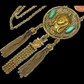 Art Deco Neiger Egyptian Revival Brass Pharaoh 3 Tassels Necklace